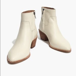Madewell Charly Boots White Leather Cowboy